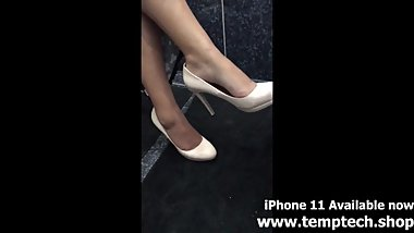 Indian feet dangle in cream heels - Foot Fetish