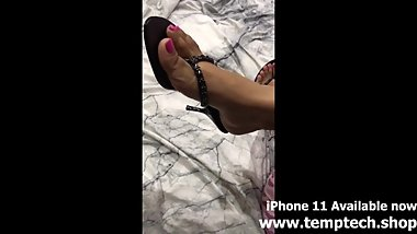 Indian mom feet in thong heels new pink polish