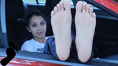 Hot Indian Soles on Car Window