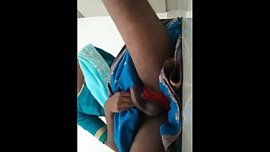 Indian Crossdresser Masturbates Wearing gf's Saree