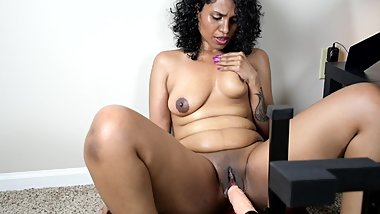 Indian HornyLily using fuck machine for the first time