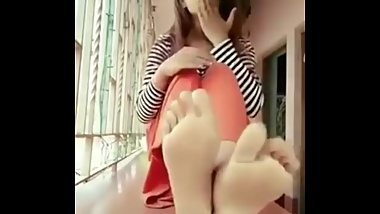 Beautiful Indian Desi Feet Model Shiny Feet & Soles Close up View & Red Lon